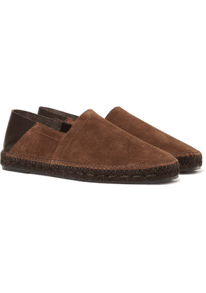 TOM FORD - Barnes Collapsible-heel Suede And Leather Espadrilles - Dark brown