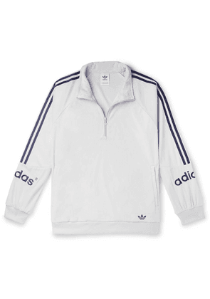 adidas Originals - Logo-embroidered Striped Velour Half-zip Sweatshirt - White