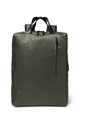 Incotex - + Nanamica City Leather-trimmed Nylon Backpack - Green
