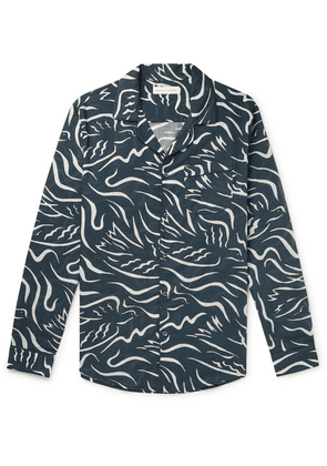 Desmond & Dempsey - Printed Cotton Pyjama Shirt - Navy
