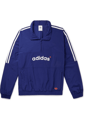 adidas Originals - Arc Logo-embroidered Striped Shell Half-zip Track Jacket - Blue