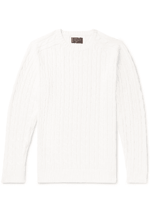 Beams Plus - Slim-fit Cable-knit Cotton Sweater - Off-white