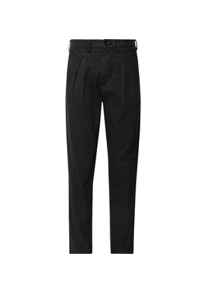 BILLY - Tapered Pleated Cotton-twill Trousers - Black