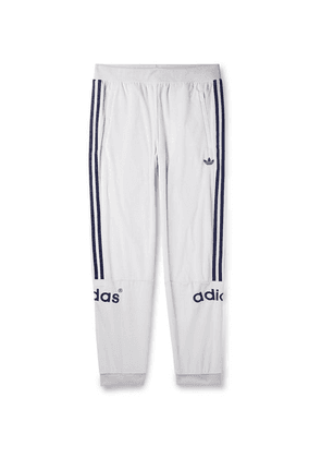 adidas Originals - Tapered Logo-embroidered Striped Velour Sweatpants - White