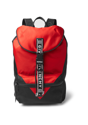 Givenchy - Logo-jacquard And Leather-trimmed Colour-block Nylon Backpack - Red