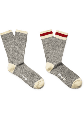 Beams Plus - Two-pack Ribbed Mélange Cotton-blend Socks - Gray