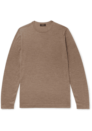 Theory - Lievos Slim-fit Mélange Cashmere Sweater - Brown
