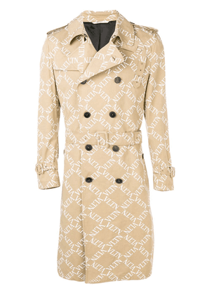Valentino double-breasted logo print trench coat - Neutrals
