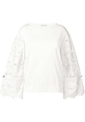 Moncler embroidered floral sleeves jumper - Neutrals