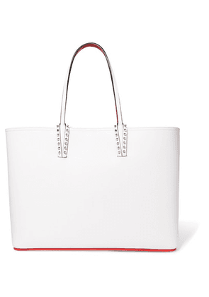 Christian Louboutin - Cabata Spiked Textured-leather Tote - White