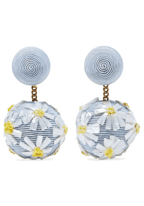 Rebecca de Ravenel - Forget Me Not Cord And Raffia Earrings - Blue
