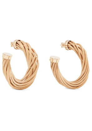 Rosantica - Mamba Gold-tone And Wicker Hoop Earrings - Beige