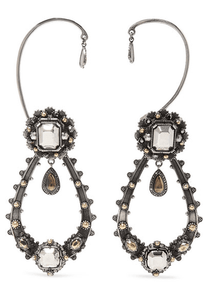 Alexander McQueen - Metallic Armour Silver-tone, Faux Pearl And Crystal Ear Cuffs - one size