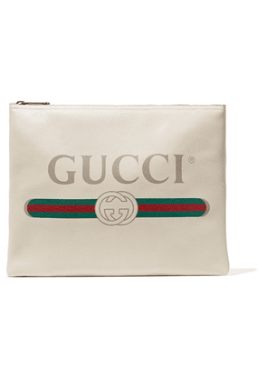 Gucci - Printed Textured-leather Pouch - White