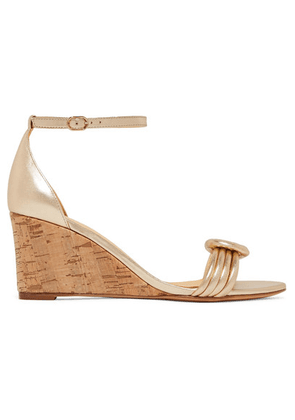 Alexandre Birman - Vicky Knotted Leather Wedge Sandals - Gold