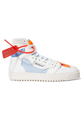 Off-White - Off-court Logo-embellished Canvas, Leather And Suede High-top Sneakers - IT42