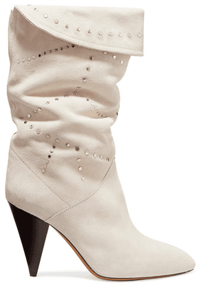 Isabel Marant - Lestee Studded Suede Knee Boots - White