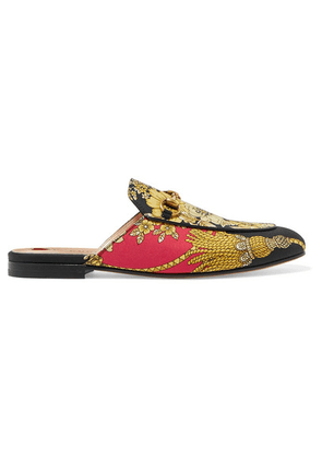 Gucci - Princetown Horsebit-detailed Printed Faille Slippers - Black