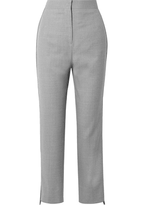 Burberry - Jersey-trimmed Wool Straight-leg Pants - Gray