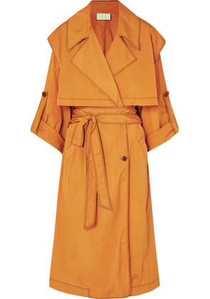 ARJÉ - Dione Hammered-sateen Trench Coat - Saffron