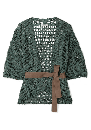 Brunello Cucinelli - Belted Sequin-embellished Open-knit Cardigan - Petrol
