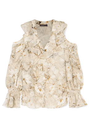 Alexander McQueen - Cold-shoulder Ruffled Floral-print Silk Blouse - Ivory