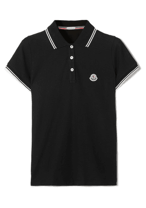 Moncler - Striped Cotton-piqué Polo Shirt - Black