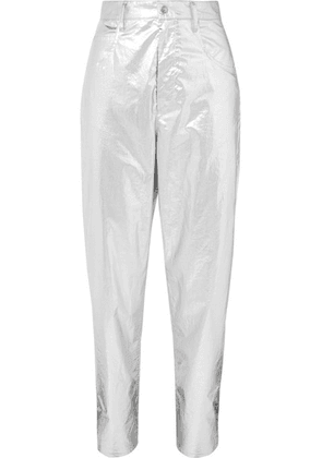 Isabel Marant - Torsy Metallic Coated Cotton Tapered Pants - Silver