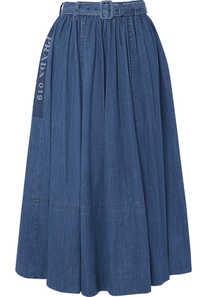 Prada - Belted Printed Denim Midi Skirt - Blue