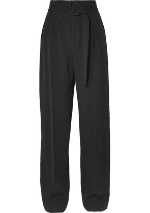 Off-White - Belted Crepe Straight-leg Pants - Black