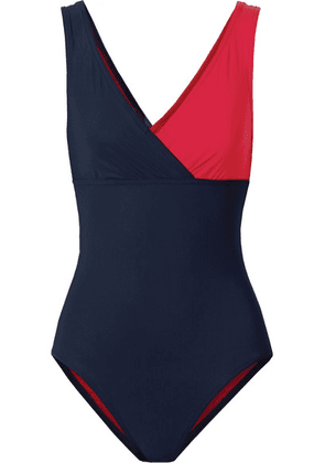 Karla Colletto - Helene Wrap-effect Two-tone Swimsuit - Navy