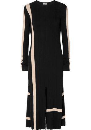 Loewe - Striped Ribbed Cotton Midi Dress - Black
