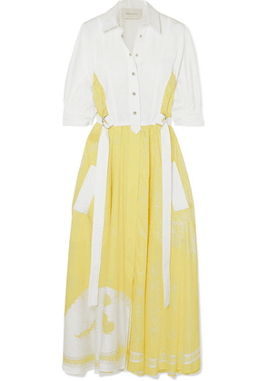 Cédric Charlier - Cotton-blend And Satin-twill Midi Dress - Yellow