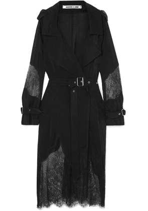 McQ Alexander McQueen - Paneled Crepe De Chine And Lace Trench Coat - Black