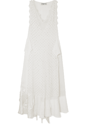 Loewe - Lace-trimmed Embellished Georgette And Silk Crepe De Chine Maxi Dress - White