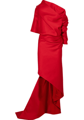 Balenciaga - One-shoulder Draped Duchesse-satin Gown - Red