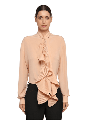 Ruffled Silk Crepe De Chine Shirt