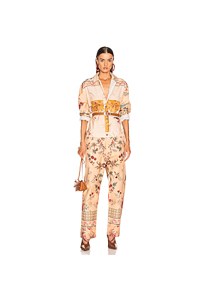 Pierre-Louis Mascia Kyle Jumpsuit in Green,Plaid,Red,Paisley