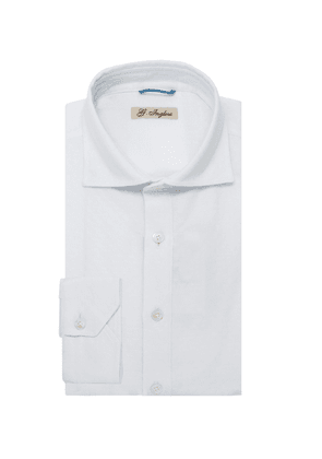 G. Inglese White Long Sleeve Polo Shirt