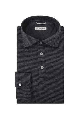 G. Inglese Charcoal Long Sleeve Polo Shirt