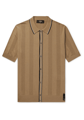Fendi - Contrast-tipped Perforated Stretch-knit Polo Shirt - Tan