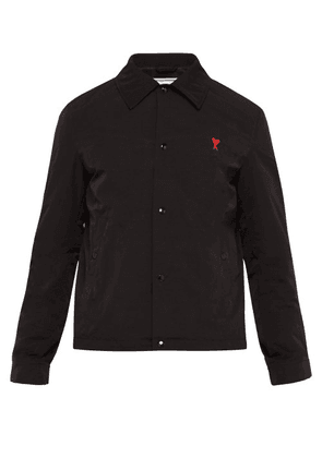 Ami - Logo Embroidered Technical Fabric Jacket - Mens - Black