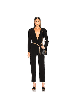 Norma Kamali Single Breasted Tapered Leg Jumpsuit in Black
