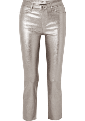 FRAME - Cropped Metallic Stretch-leather High-rise Straight-leg Pants - 28
