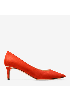 Bally Evony Red, Women's kid suede pump with 55mm heel in papavero