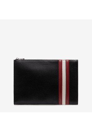 Bally Curtz Black, Men's grained calf leather clutch bag in black