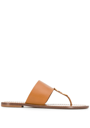 Tory Burch round plaque sandals - Brown