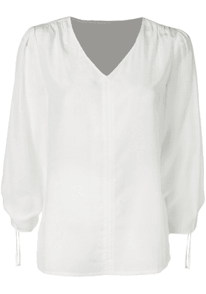 Jovonna ruched fitted blouse - White
