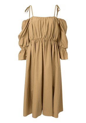 Goen.J voluminous shape gathered dress - Brown