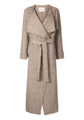 Goen.J Frayed tweed long coat - Brown